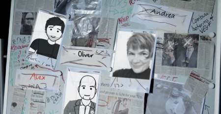 "Fig. 12: Sample from the personalized Trailer of ""The Foundation"", showing the vanished team members of the main protagonist."