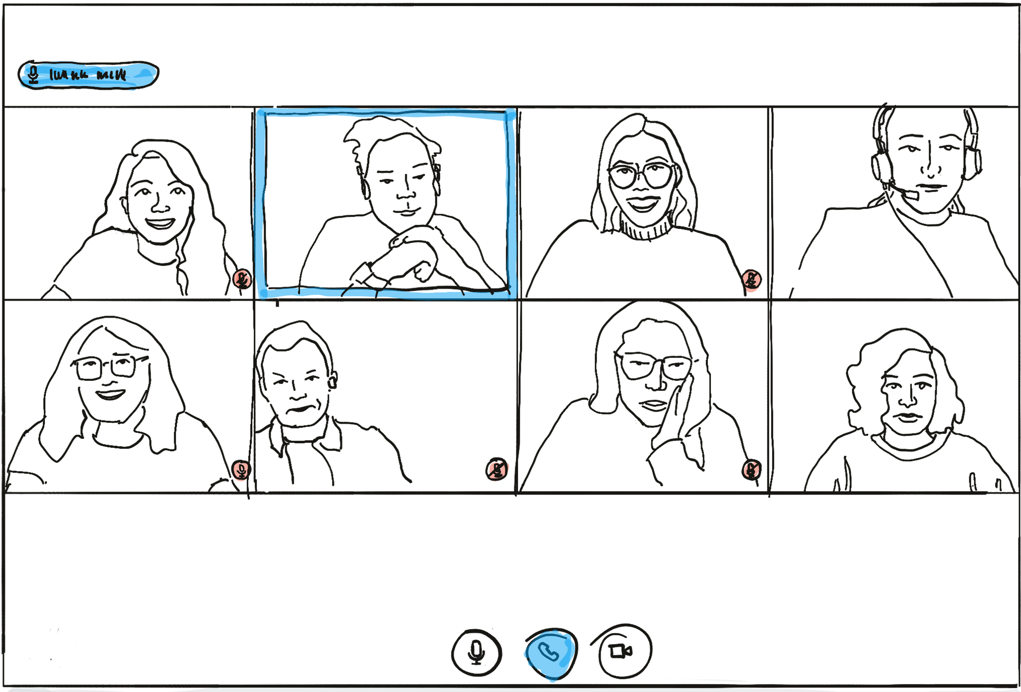 Typical tiled representation in a video conference software (here: Big Blue Button)