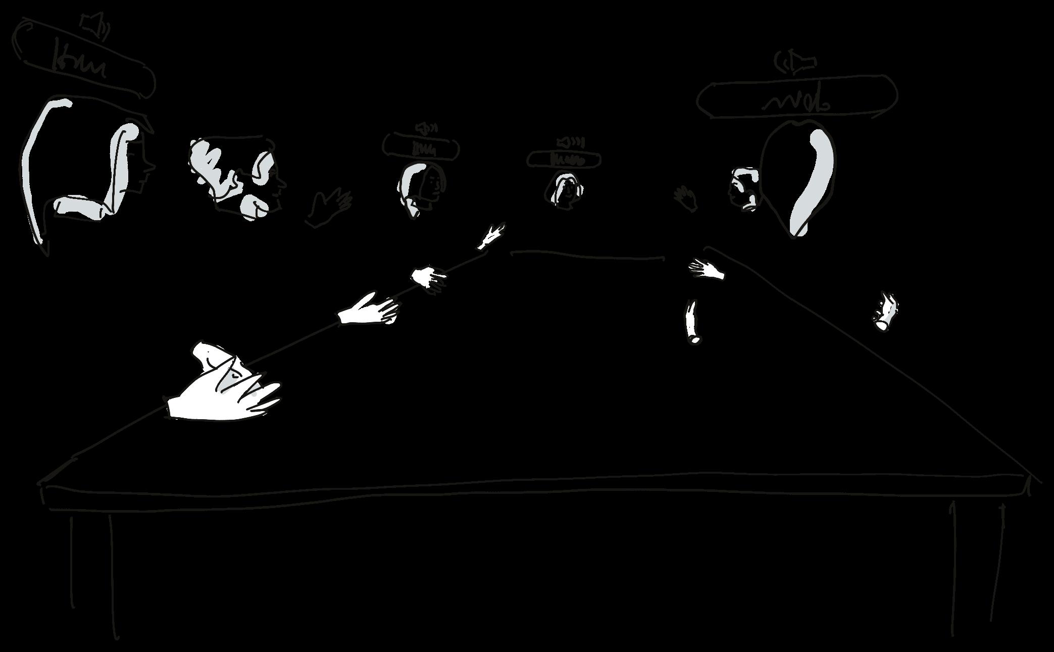 Avatare als Telepräsenzen im virtuellen Raum. Hier: Beispiel der meetingROOM-Lösung.